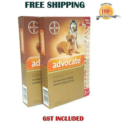 Advocate for Dog 10-25kg Large Dogs - 6 Pack Flea & Lice Treatment Exp.6/2018