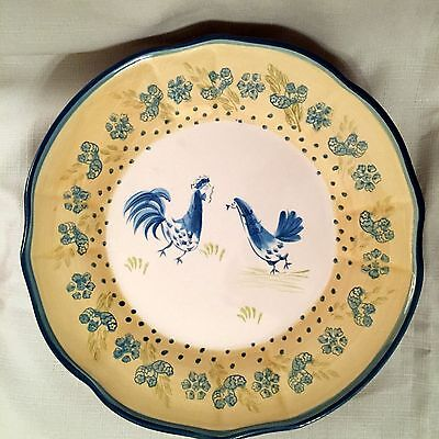"(2) MSE MARTHA STEWART AQUA/YELLOW CHICKEN ROOSTER FRENCH COUNTRY 11"" PLATES"