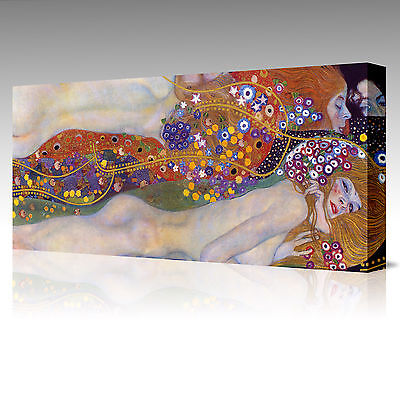 LARGE 16x12 Inch Gustav Klimt Water Serpents Friends II Framed Canvas Picture
