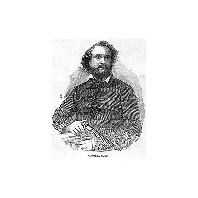 Col SAMUEL COLT Founder of Gun and Fire Arms Company - Antique Print 1856