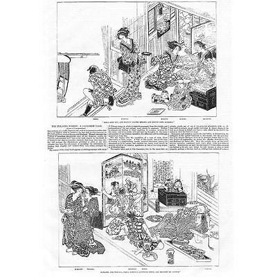 JAPAN The Folding Screen, A Japanese Tale - Antique Print 1857