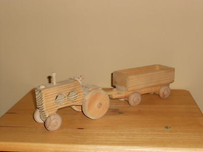 Handmade Wooden Tractor with Wagon Expertly Made by a Mississippi Craftman