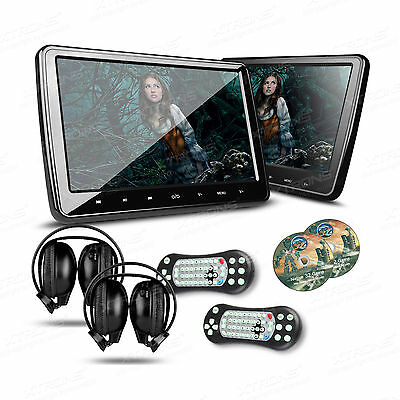 "2x 10.1"" CAR Headrest DVD CD Player HDMI GAME Touch Button Dual Monitors Headset"