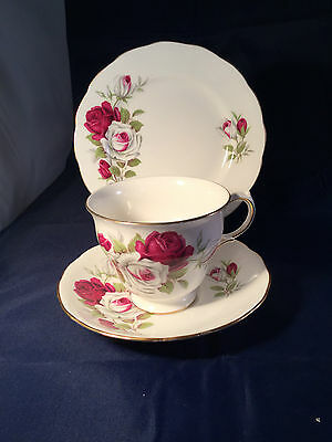 Crown Royal Rose Pattern Vintage China Trio Cup, Saucer & Plate - Weddings etc