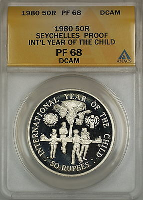 1980 Year of the Child Proof Seychelles 50R Rupees Silver Coin ANACS PF-68 DCAM