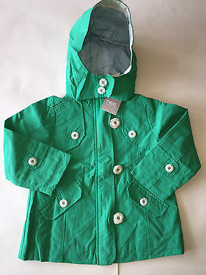 BNWT Next Girls Summer  Lightweight Hooded Coat Jacket Green Lined Blue Stripes