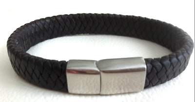 Mens Genuine Flat Leather Braided Wristband Bracelet Stainless Steel Clasp