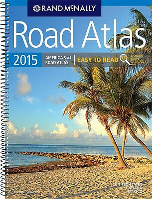 New Rand Mcnally 2015 Road Atlas Large Scale Spiral Paperback, Free Shipping!