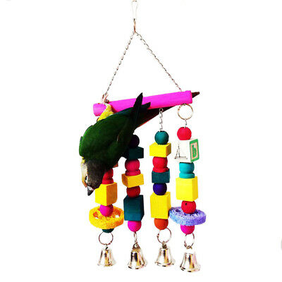 Large Wooden TOY Parrot Toys Cages African Grey Amazon Conure Ladder Swings Bell