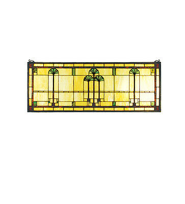 "Meyda Lighting 50825 Tiffany Style 35""W X 13""H Ginkgo Stained Glass Window Panel"