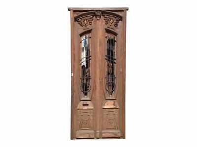 Antique Double Wrought Iron Insert Entry Door CA795