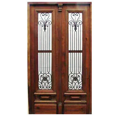 Unique and Exquisite Double Entry Door with Hand forged iron inserts B1380
