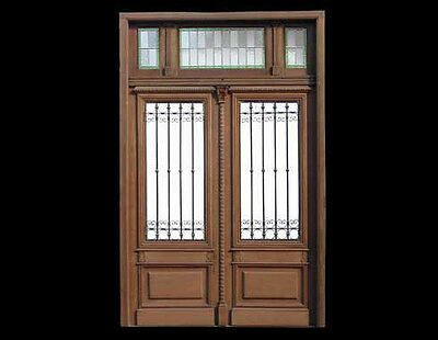 Antique and restored Double Entry Mahogany Door A1769