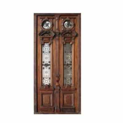 Amazing Entry Double Door with Wrought Iron Inserts B1489