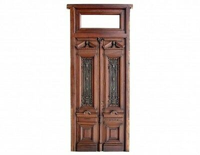 Stunning Double Entry Front Door with amazing wrought iron inserts B1827