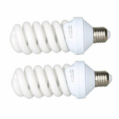 2X Video Studio Continuous E27 Fluorescent Tricolor Light Bulb 5500K 45W 240V
