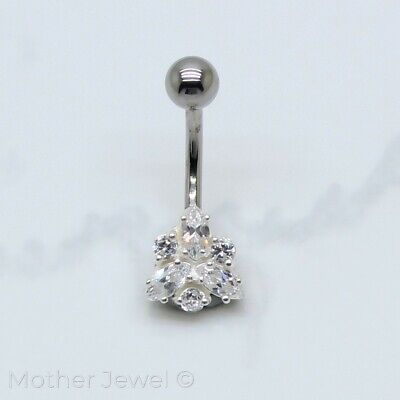 Beautiful 925 Sterling Silver Cubic Zirconia 316L Surgical Steel Belly Bar Ring