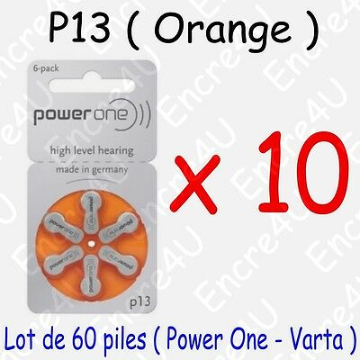 60 piles auditives : ORANGE P13 ( = 10 blisters )
