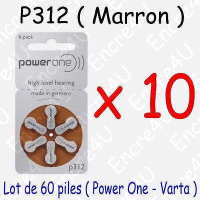 60 piles auditives : MARRON P312 ( = 10 blisters )