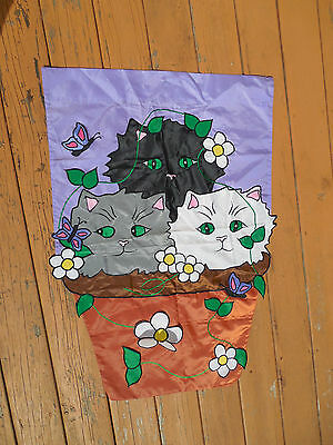 1998 Vintage Black Gray White Cats Kittens Flower Basket Flag Outdoor Garden