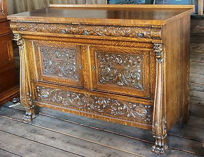 Victorian c1890 RJ HORNER Carved Oak Buffet Server Table w/ Key&Secret Drawer!!!