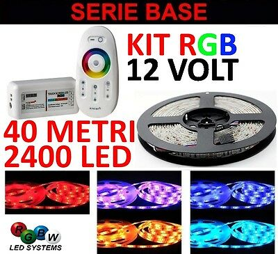 Kit 40 Metri Radiocomando Touch 1 Zona Rgb 2400 Led 5050 Strip Striscia Remote
