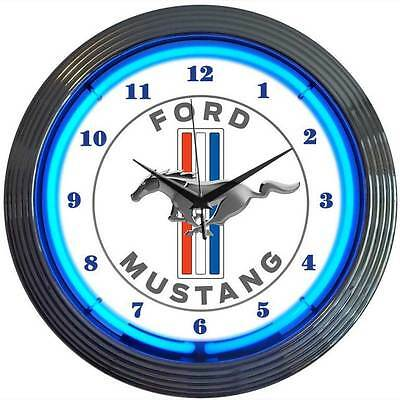 Ford Mustang neon clock sign blue neon service garage wall lamp Mechanic oval