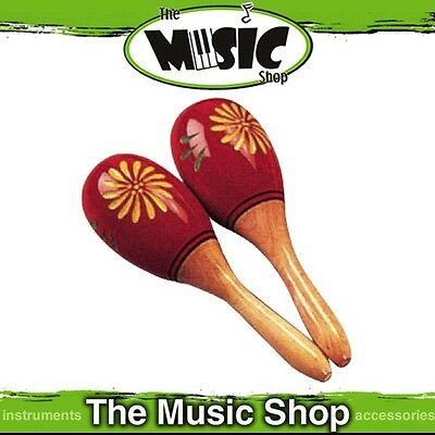 New Pair Powerbeat Hand Painted & Carved Wooden Oval Shaped Maracas - ED452