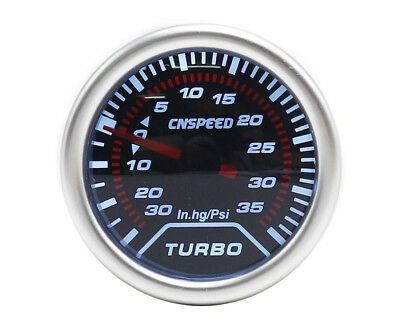52mm Universal Smoked Turbo Boost gauge 35 Psi VW Golf Bora Polo Scirocco
