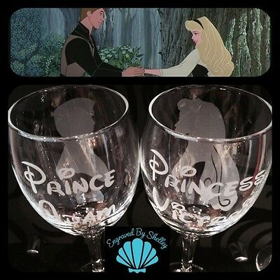 Personalised DISNEY Wedding Glasses Sleeping Beauty & Prince Philip! Bride&Groom