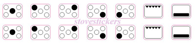 5 Ring Cooker Stove Hob Stickers Markings