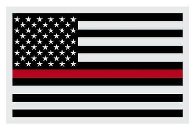"""American Flag Black with Firefighter Red Line Reflective Decal Sticker 2"""" X 3"""""""