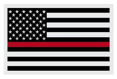 """Firefighter American Flag Black with Red Line Reflective Decal Sticker 2"""" X 3"""""""