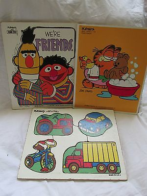Lot 3 Vintage Playskool Wooden Puzzles Garfield Pooky's Bath~Sesame Street~Wheel