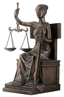 """NEW! 8"""" Blind Lady Scales Justice Lawyer Statue Attorney Gift Judge BAR Justitia"""