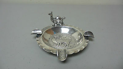 """UNUSUAL VINTAGE PERUVIAN 900 SILVER ASHTRAY with LLAMA and COIN """"HOLDERS"""""""