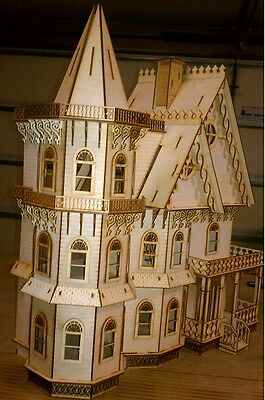 Leon Gothic Victorian Mansion Dollhouse Half inch / 1:24 scale Kit