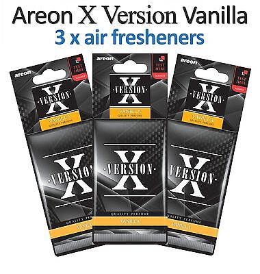 3 x Car Air Freshener Areon X Version Vanilla Scent Quality Car Perfume Scents
