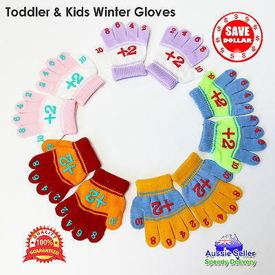 Kids Toddler 11.5cm Number Gloves Winter Ski Kids Baby Boys Girls 3-6 years