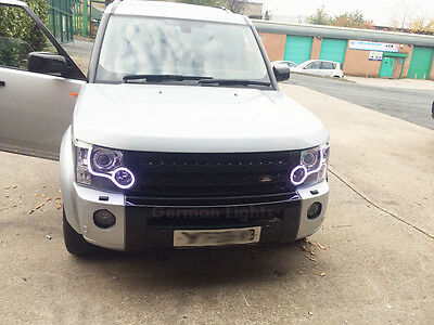 *landrover Discovery 3 4 Smd Led Headlight Conversion Drl White Facelift Rings