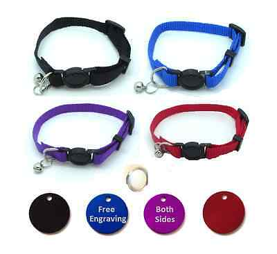 Cat Collar, With Bell, Quick Release With Free Engraved 22mm Anodised ID Tag P&P