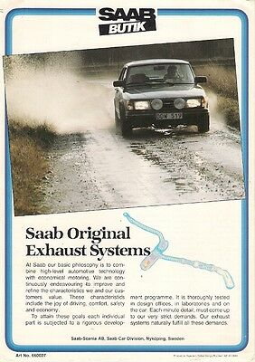 Saab Butik Original Replacement Exhaust Systems 1983 UK Leaflet Brochure 900 99