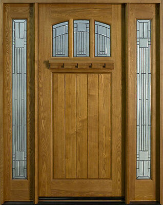 Solid Wood Ash Entry Door Single With 2 Sidelites Prehung Prefinished 211S 2SL