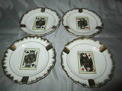 Vintage (4) Original NAPCO China Hand Painted Porcelain Playing Card Ashtray