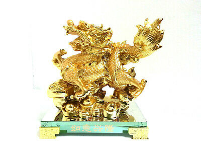 Gold Plated Chinese Oriental Feng Shui Dragon Ornament in Variety Styles/Designs