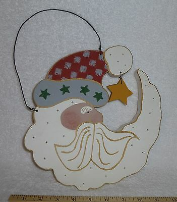 """Santa Claus Hand-Painted Wall Plaque 9"""" x 12"""" Rustic Country Wire Hanger"""