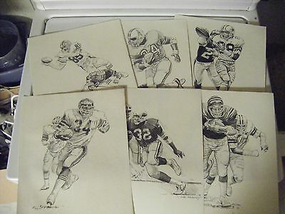 1981 Shell Oil Print 6 Lot Walter Payton Campbell Anderson Griffin Logan Pearson