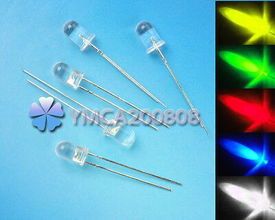 100pcs 5mm White Red Blue Green Yellow Round LED Light Bulb Emitting Diode Lamp