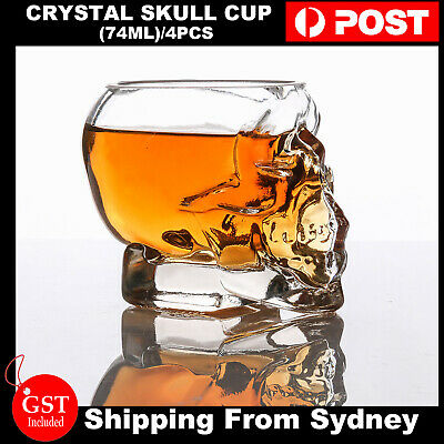 4pcs Crystal Skull Head Shot Glass Cup Vodka Cup champagne Glass Drinking Party