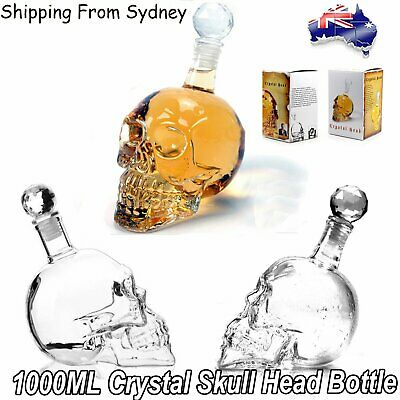 1000ml Decanter Crystal Skull Head Vodka Shot Whiskey Wine Drinking Glass Bottle